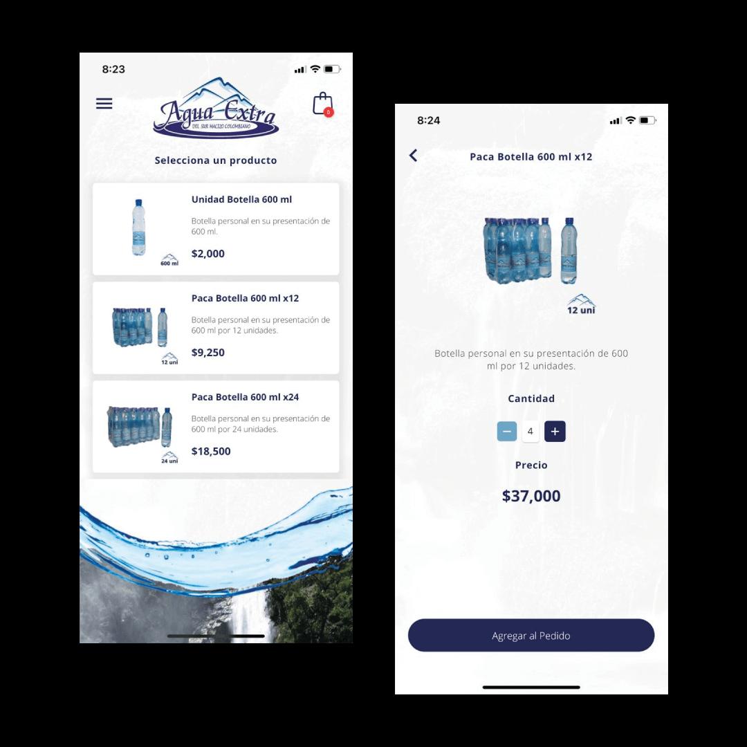 Pantallas aplicación móvil Agua Extra
